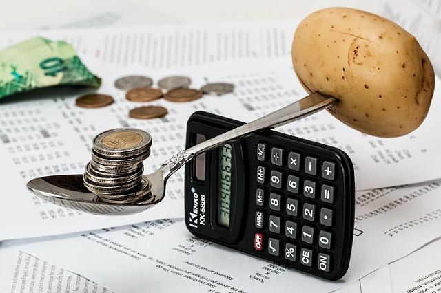 kalkulačka, váha, peníze, brambora